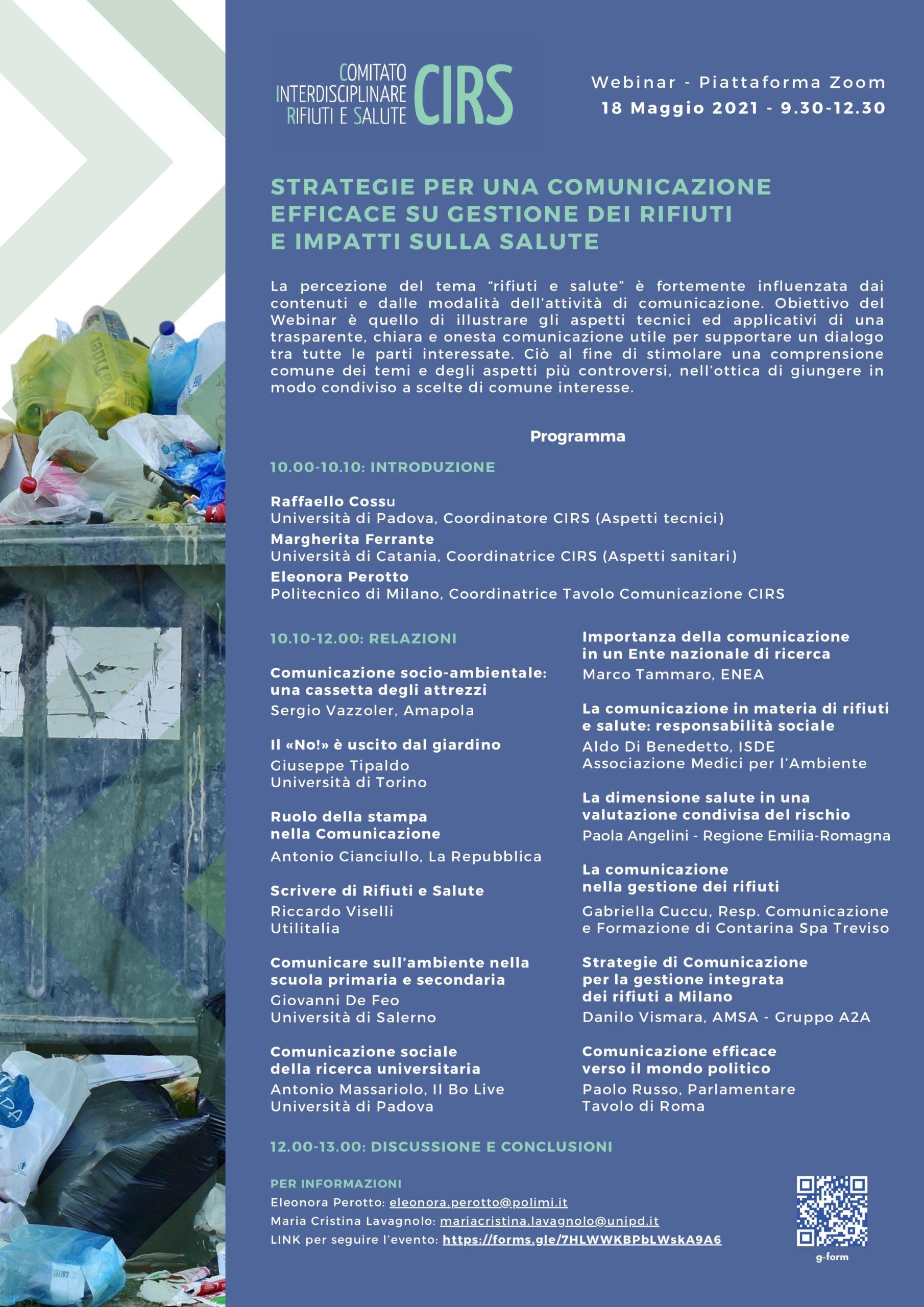Locandina webinar CIRS su ambiente, rifiuti e salute